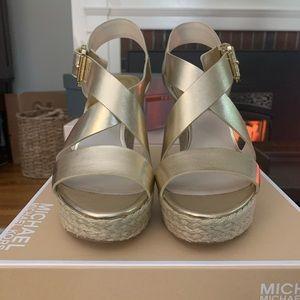 Michael Kors Gold Wedge Sandal